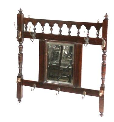 Antique Victorian Mahogany Combined Mirror and Hat Rack [5746]