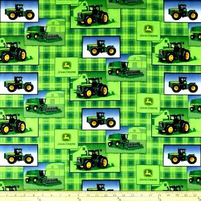TRACTOR Fabric Cotton Craft Quilting Panel OLIVER Green Tractor Farming