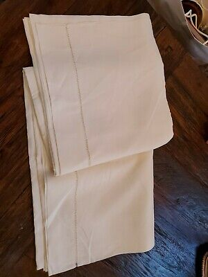 French Pure Linen Sheet-TOILE PUR LIN FLEUR BLEUE- Unused Hand Embroidered