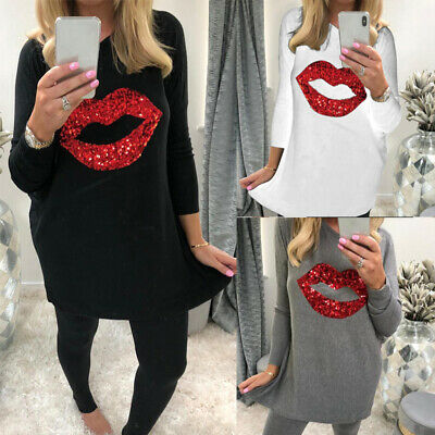 Womens Sequins Lip Long Sleeve Blouses Dress Ladies Tops Pullover Oversize Shirt