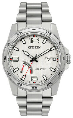 Citizen Eco-Drive Men's PRT Calendar Date Silver Dial 42mm Watch AW7031-54A