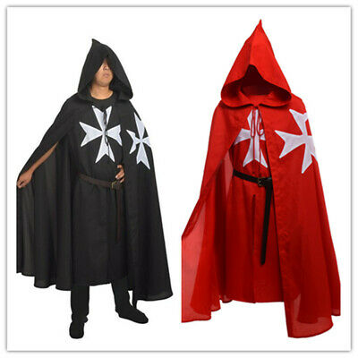 Medieval Knights Hospitaller Tunic Cloak Cape Belt Gothic Costume Cosplay