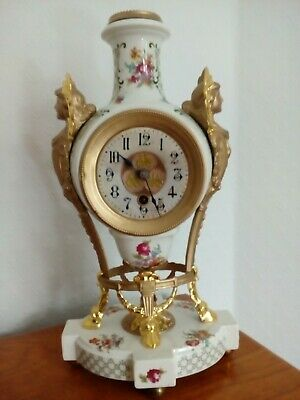 Art nouveau clock painted enamel french circa 1910 gilt detailing fully restored