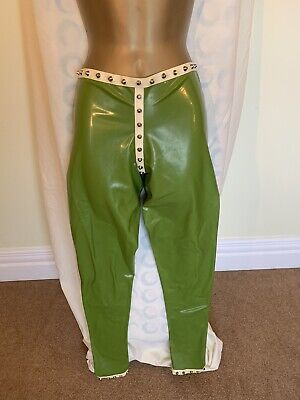 Green Studded Latex Rubber Leggings White Trim Size 10 Sexy Kinky Fetish Gothic