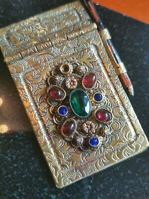 Antique  Brass AIDE Memoire Foilate DANCE CARD  Notebook with Cabachon Paste
