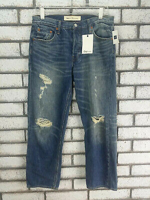 Gap 1969 Vintage Straight Distressed Button Fly Jeans Size 28 NEW Teens Boys