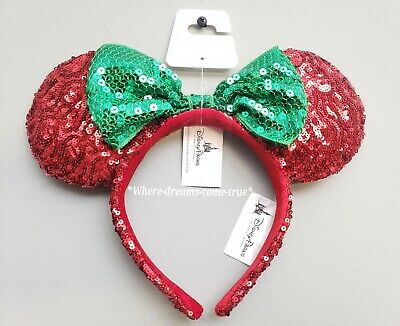 Disney Parks Christmas Holiday Minnie Ears Headband Red- green bow Sequins (NEW)