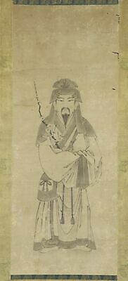 """JAPANESE HANGING SCROLL ART Painting """"Chinese style Tenjin""""  #E9901"""