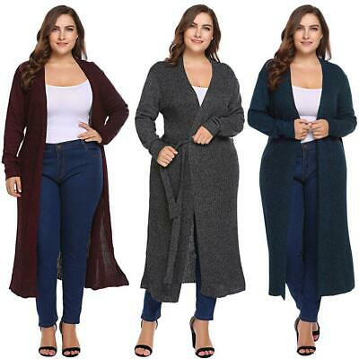 Women Plus Size Casual Long Sleeve Open Front Knitted Long Cardigan RCAI 01