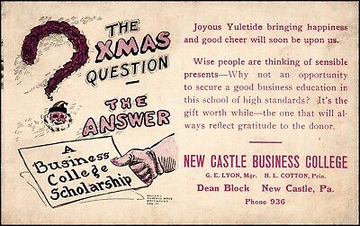 New Castle PA Business College Scholarship Christmas Advertising Postcard c.1913