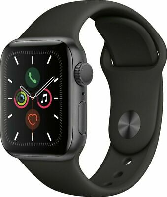 New Apple Watch Series 5 44mm Space Gray Case Black Sport Band MWVF2LL/A A2093