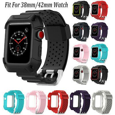 Silicone Wristband Strap + Case Ptotector For Apple Watch iWatch 1 2 3 4 38/42mm