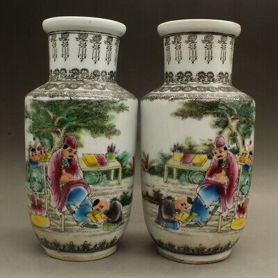 "8.3"" Collect Chinese Famille-rose Porcelain Ancient Characters Bottle Vase Pair"