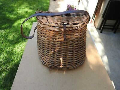 Vintage Whicker/Cane Fishing Kreel Basket Fishing Bag