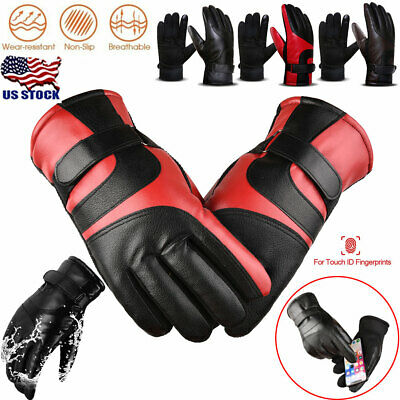 Women Men Thermal Waterproof Leather Gloves Winter Warm Touch Screen Snow Gloves