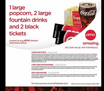 2 AMC Theatre Black Movie Tickets, 2 Large Drinks, & 1 Large Popcorn. e-delivery