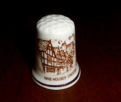 Collectable Bone China Thimble ~ Nine Houses Chester, England ~ VGC!  #32