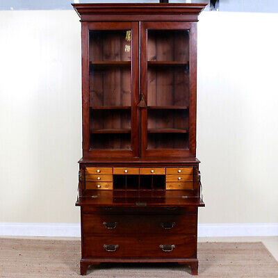 Antique George III Bureau Bookcase Secretaire Georgian Mahogany Desk Chest