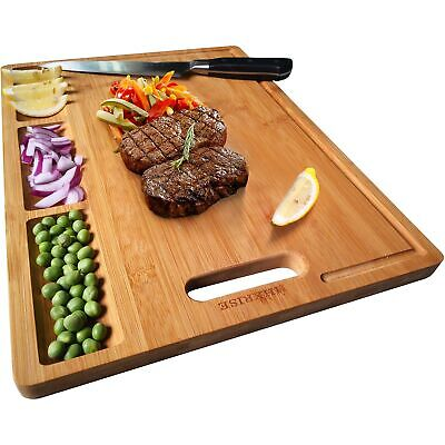 Large Organic Bamboo Cutting Board for Kitchen Heavy Duty Chopping Butcher Block