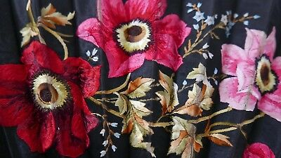 """Antique Large (26"""" W) Silk And Ebony Hand Embroidered Fan"""