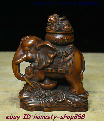 Collect Old China Natural Boxwood Wood Carving Animal Elephant Heffalump Statue