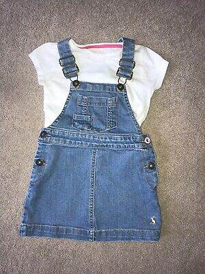 Joules Denim Pinafore And White Tshirt Age 2-3