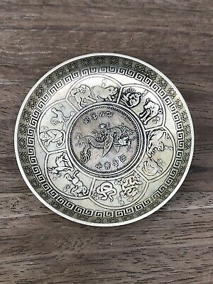 Antique Chinese Flying Dragon Coin Inlaid Dish - marked L Giorgi - Zodiac Animal