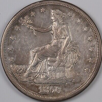 1876-S Trade Silver Dollar Great Details Cleaned