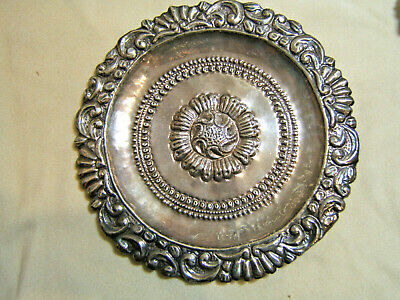 """Vintage Sterling Silver Handcrafted Repousse 11"""" Dish 280g Signed E.Nyxy?"""