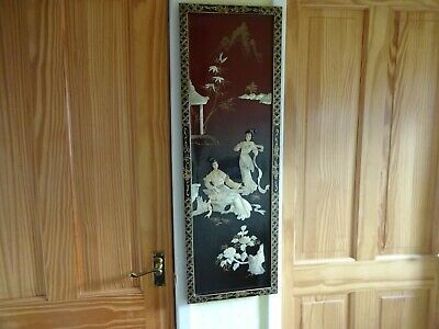 Oriental Chinese Shibyama Mother of Pearl Lacquer Wooden Picture Panel Gheisha`s