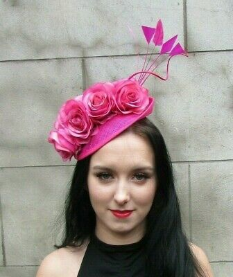 Cerise Fuchsia Hot Pink Rose Flower Feather Disc Saucer Hat Fascinator Hair 7956