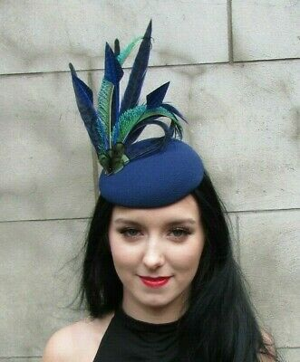 Navy Blue Royal Blue & Green Peacock Pheasant Feather Hat Fascinator Races 7964