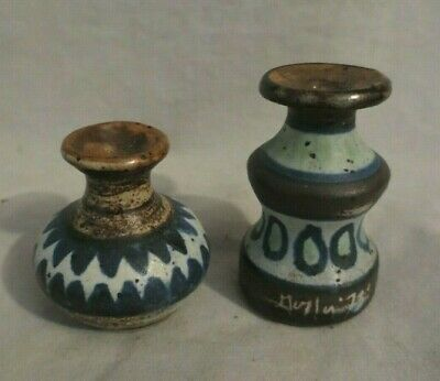 VINTAGE MINIATURE HANDCRAFTED CLAY POTTERY POTS (2) Signed & Dated 1973