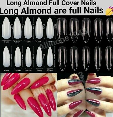 600Pcs Long Almond Full Cover French Artificial False Nail White/Natural/Clear