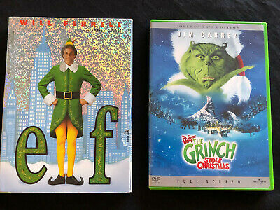 2 DVD Will Ferrell ELF Jim Carrey HOW THE GRINCH STOLE CHRISTMAS Movie Comedy