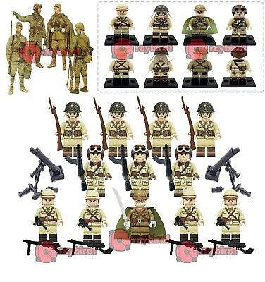 15PCS World War II Building Blocks Japanese Squad Army Mortar Mini Figure Toy