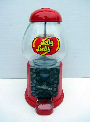 """""""JELLY BELLY"""" Jelly Bean Glass & Metal Coin-Operated VENDING MACHINE 22.5cm Tall"""