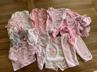 0 - 3 Month Pink Baby Girl Clothes Bundle Job Lot Hats Babygro Tops Etc 13 Items