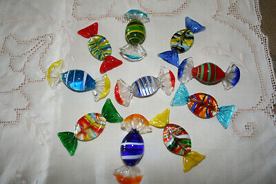 Ten Vintage Murano Glass Mulitcoloured Decorative Sweets.