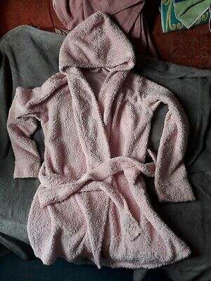 Pink Fluffy Hooded Glamour Girl Dressing Gown Approx Age 10-12 Years