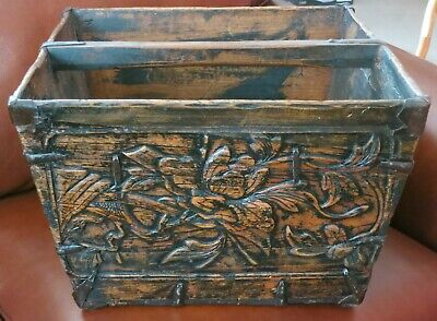 Antique Asian Hand Carved Timber Grain - Rice Bucket - Carrier with Handle