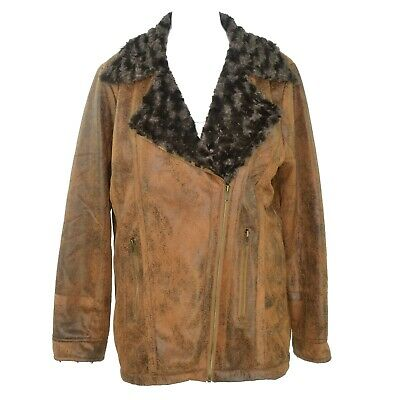 Poshpanache Womens Faux Leather Faux Fur Lined Zip Up Jacket Size L Brown NWT