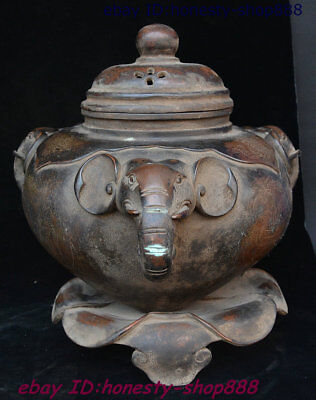 Old Chinese Purple Bronze Elephant Head Incense Burner Censer Incensory Thurible