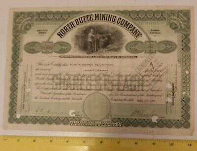 """Rare Vintage 5 Shares """"North Butte Mining Company"""" Stock Certificate Dated 1920"""