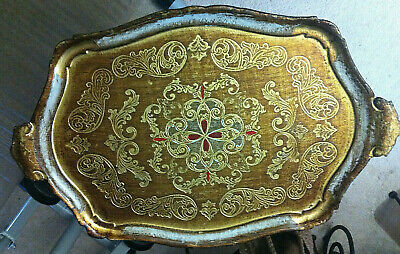 Large Vintage Florentine Antique White Ish Gold Red Wood Italy Tray Exc! 22.5""