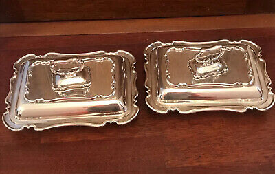 Antique Matching Pair Silver Plated Serving Dishes - grant & son Sheffield