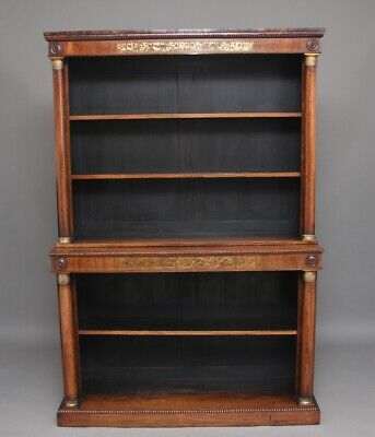Early 19th Century rosewood and brass inlaid bookcase