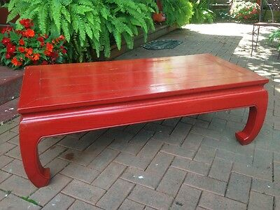 Vintage James Mont Style Red Chinese Coffee Table 1970s Asian