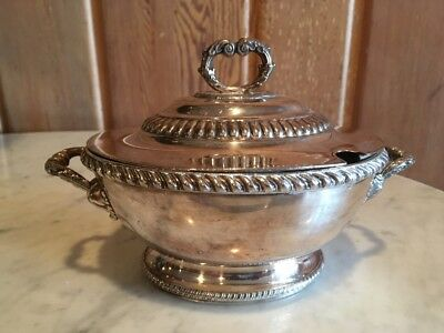 Old Sheffield Plate Covered Sauce Tureen Dome Cover Dragooned Rim Double Handle