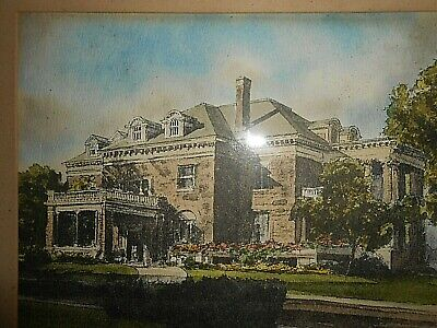 DAVIS GRAY HAND PAINTED WATER COLOR PRINT OF BEIGER MANSION RARE Signed & dated